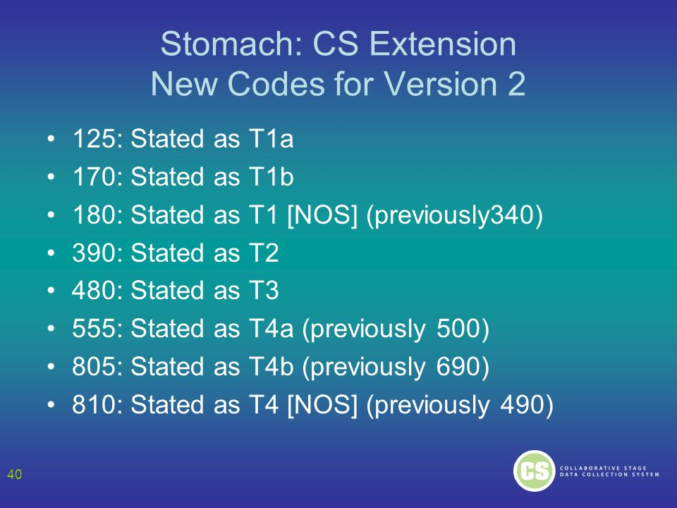 Stomach: CS Extension New Codes for Version 2