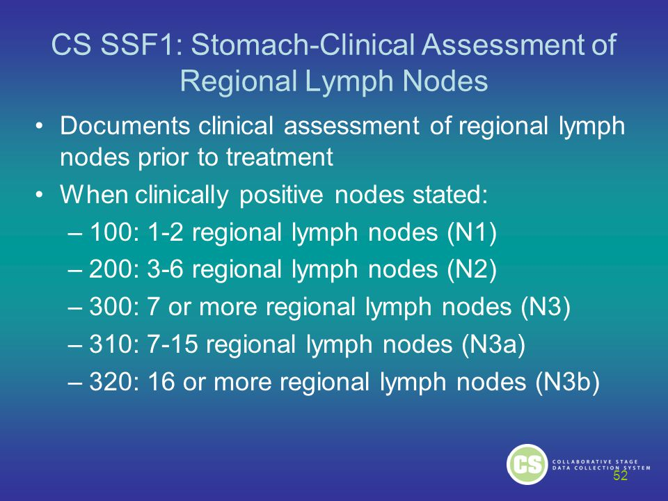 CS SSF1: Stomach-Clinical Assessment of Regional Lymph Nodes