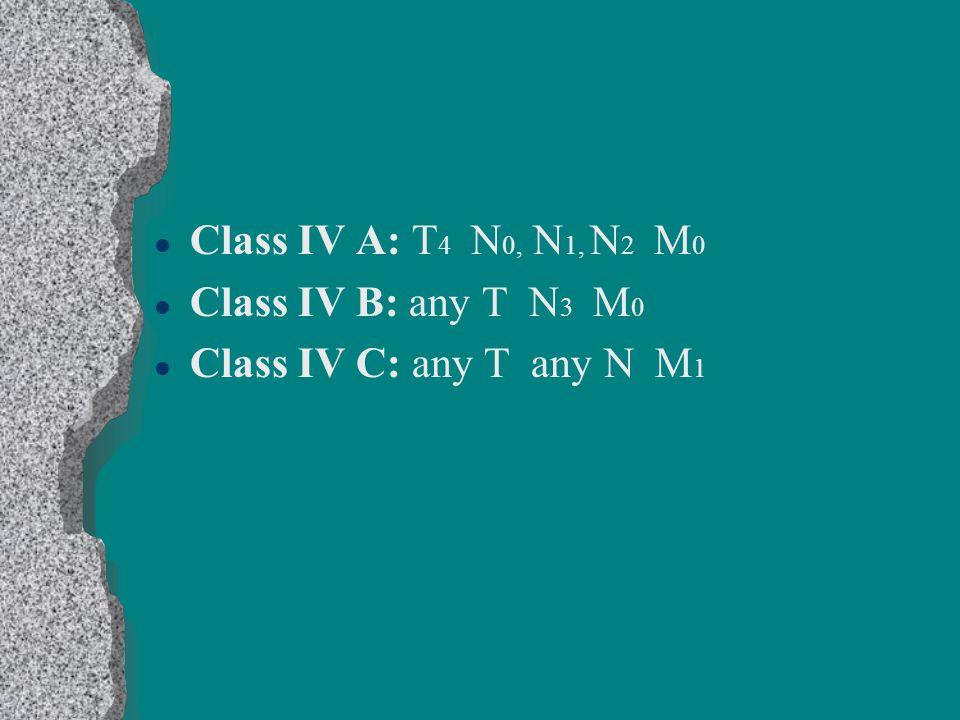 Class IV A: T4 N0, N1, N2 M0 Class IV B: any T N3 M0 Class IV C: any T any N M1