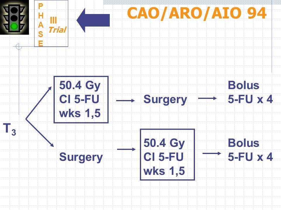 CAO/ARO/AIO 94 T3 50.4 Gy Bolus CI 5-FU Surgery 5-FU x 4 wks 1,5