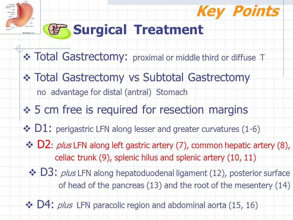 Key Points Surgical Treatment no advantage for distal (antral) Stomach