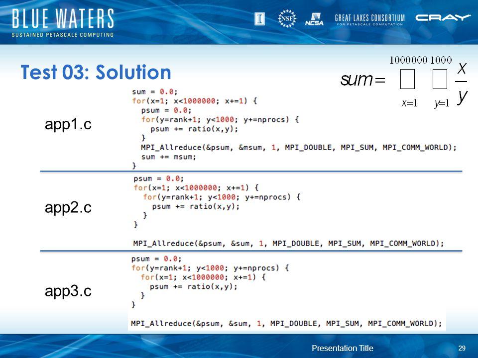 Test 03: Solution app1.c app2.c app3.c Presentation Title