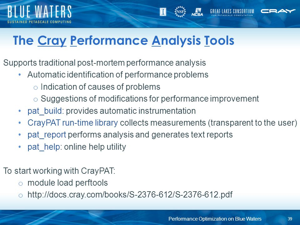 The Cray Performance Analysis Tools