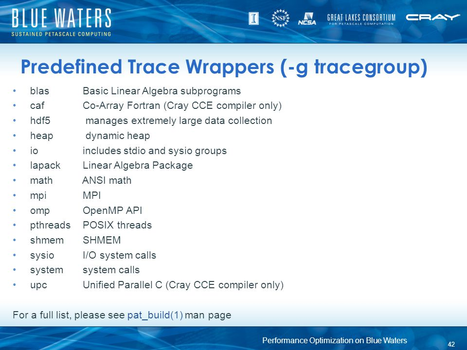 Predefined Trace Wrappers (-g tracegroup)
