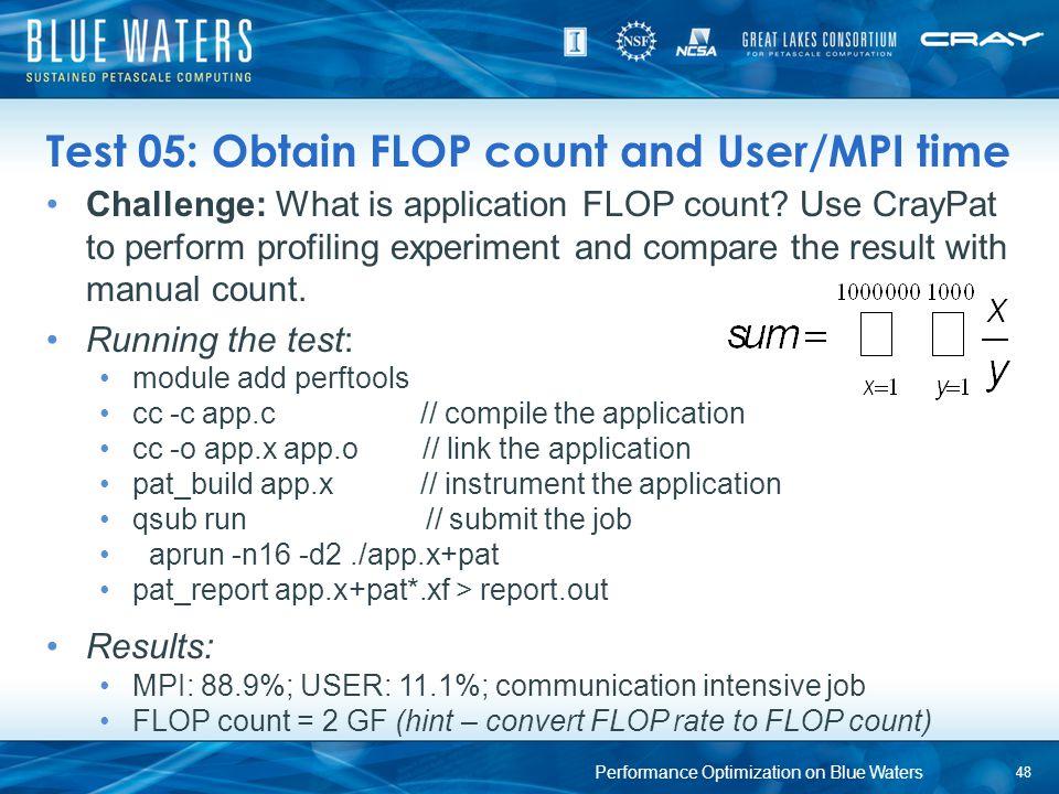 Test 05: Obtain FLOP count and User/MPI time