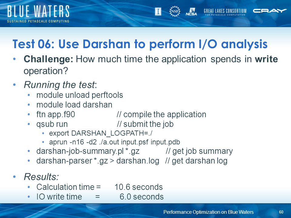 Test 06: Use Darshan to perform I/O analysis