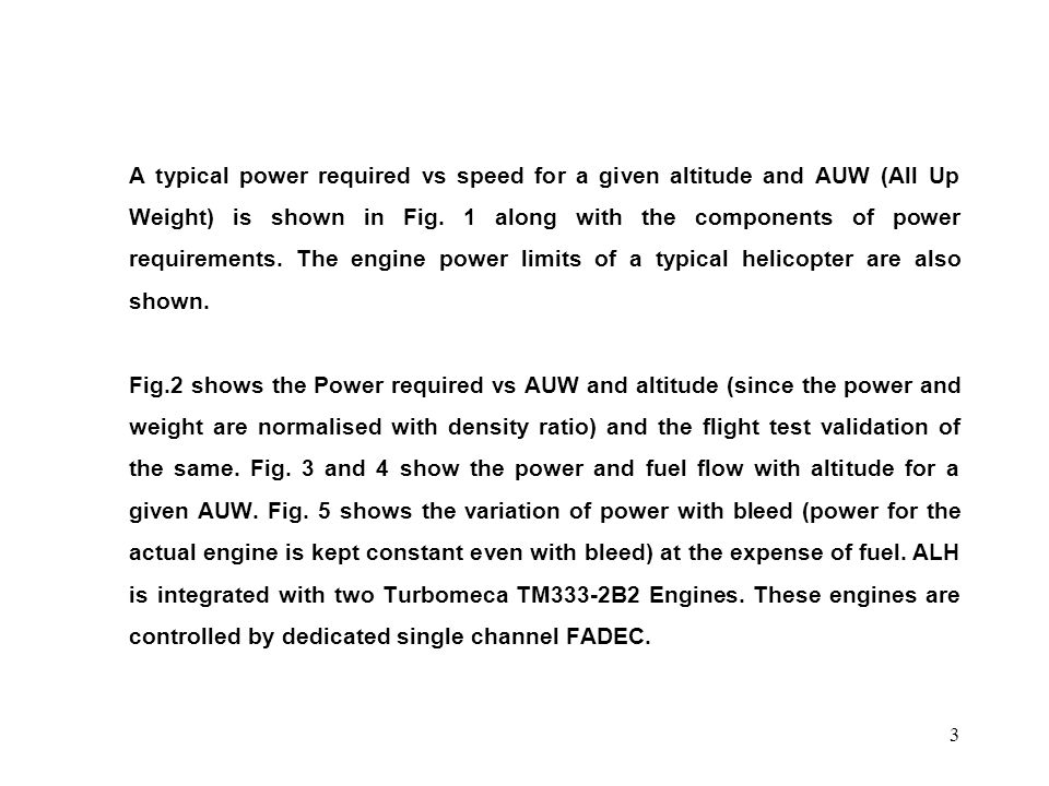 A typical power required vs speed for a given altitude and AUW (All Up Weight) is shown in Fig.