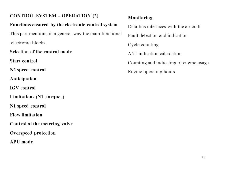 CONTROL SYSTEM – OPERATION (2)