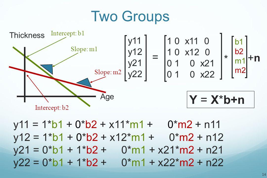 Two Groups Y = X*b+n = +n * y11 = 1*b1 + 0*b2 + x11*m1 + 0*m2 + n11