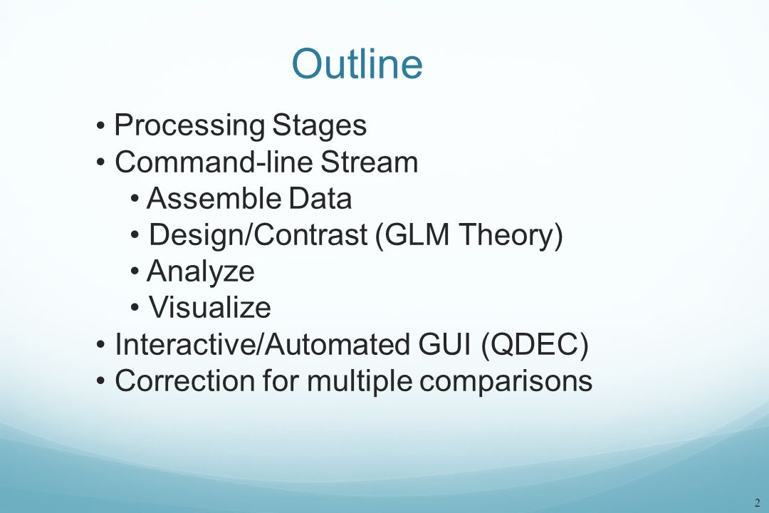 Outline Processing Stages Command-line Stream Assemble Data