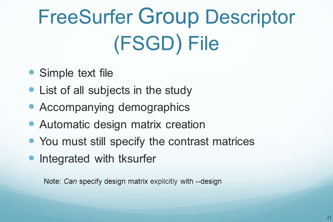 FreeSurfer Group Descriptor (FSGD) File