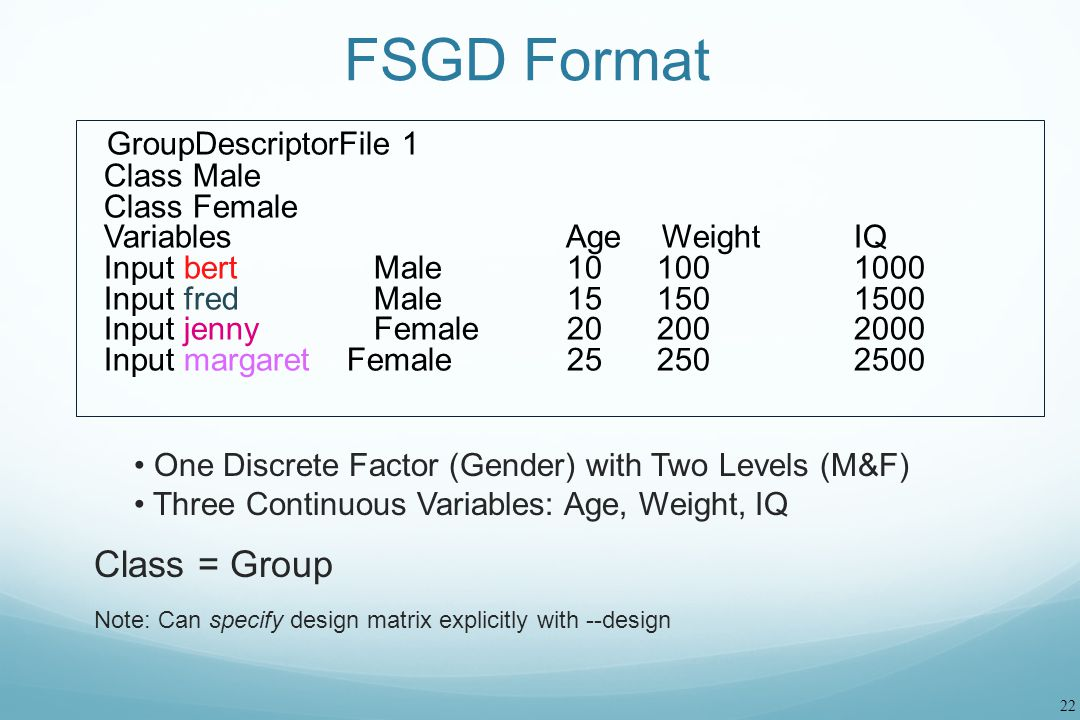 FSGD Format GroupDescriptorFile 1 Class = Group Class Male