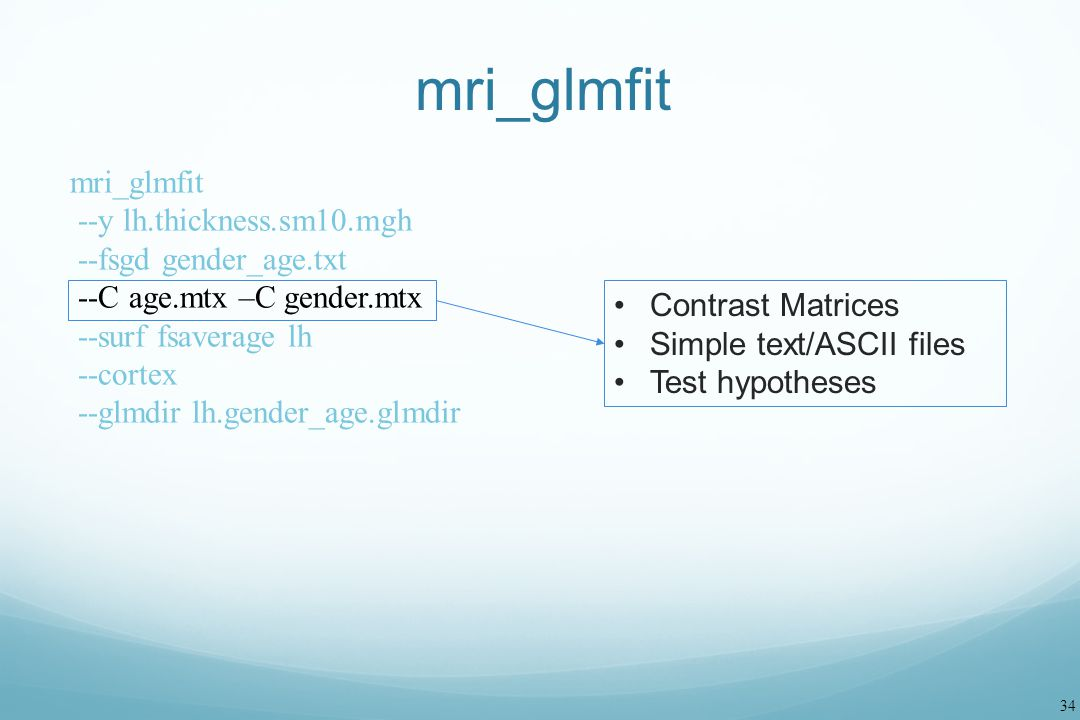 mri_glmfit mri_glmfit --y lh.thickness.sm10.mgh --fsgd gender_age.txt