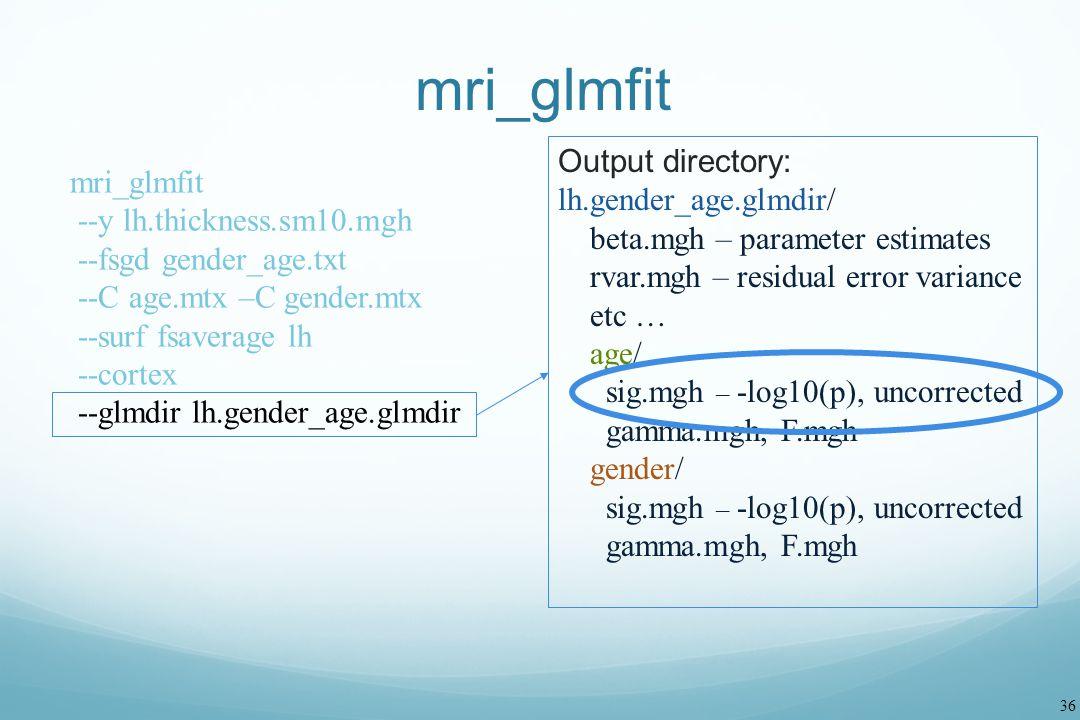 mri_glmfit Output directory: lh.gender_age.glmdir/