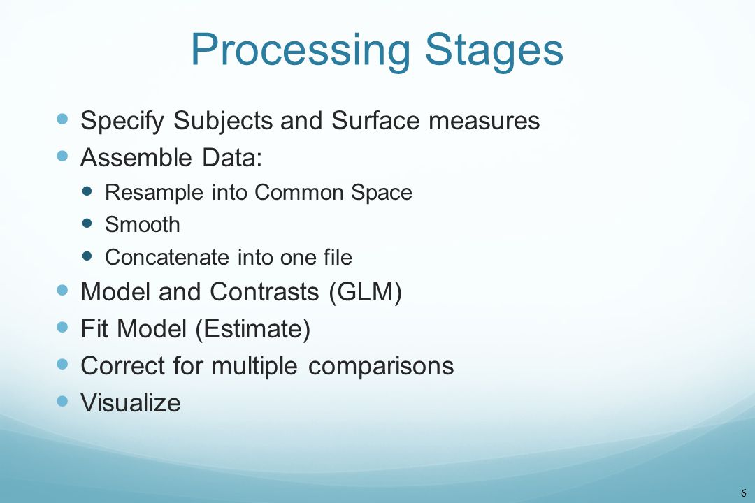 Processing Stages Specify Subjects and Surface measures Assemble Data: