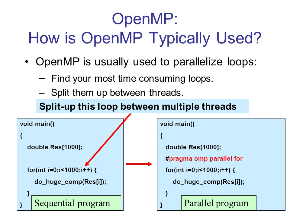 OpenMP: How is OpenMP Typically Used