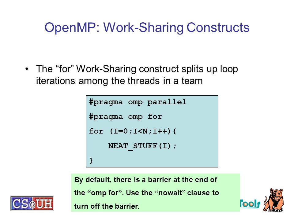 OpenMP: Work-Sharing Constructs
