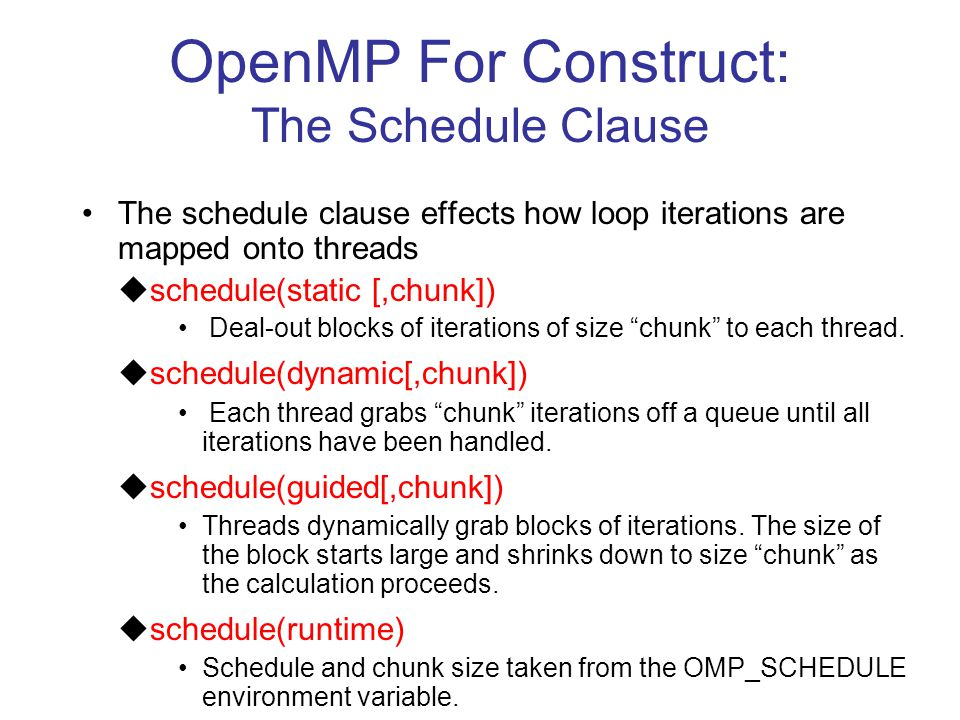 OpenMP For Construct: The Schedule Clause