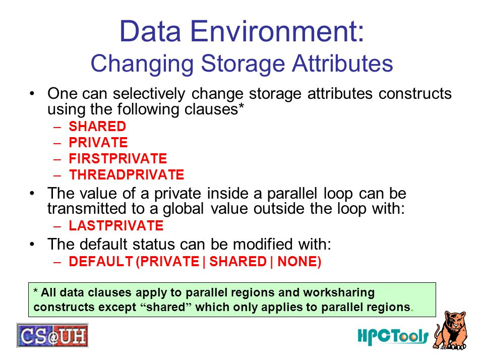 Data Environment: Changing Storage Attributes