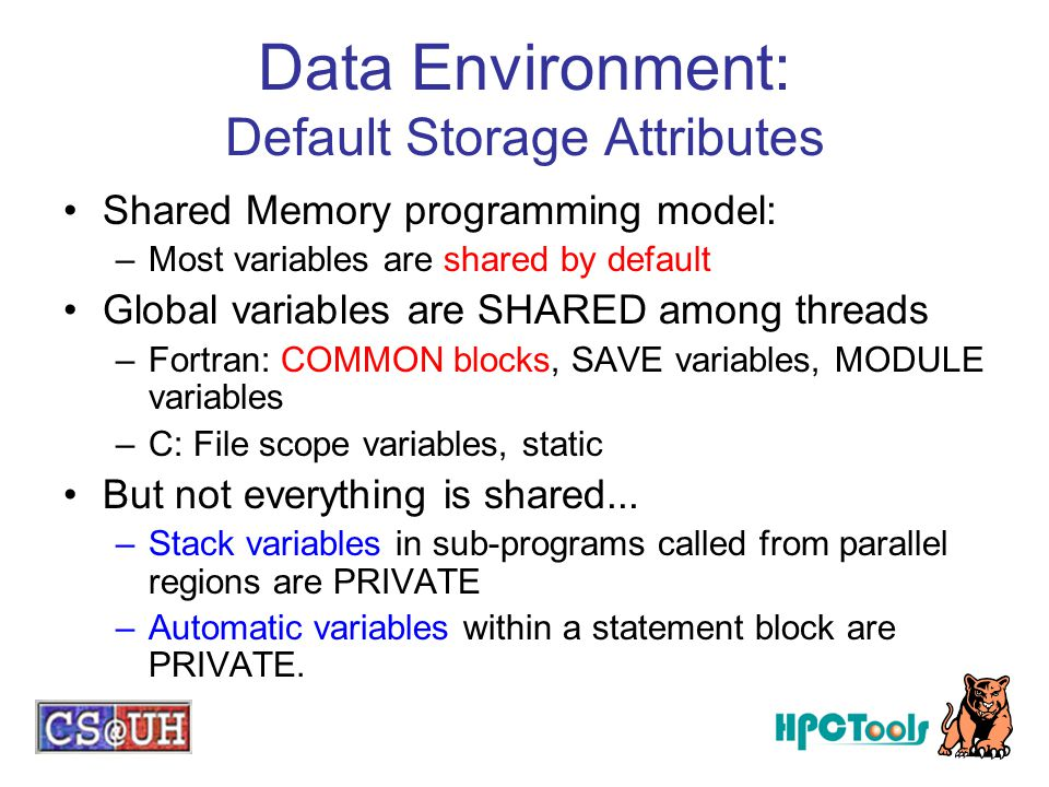 Data Environment: Default Storage Attributes