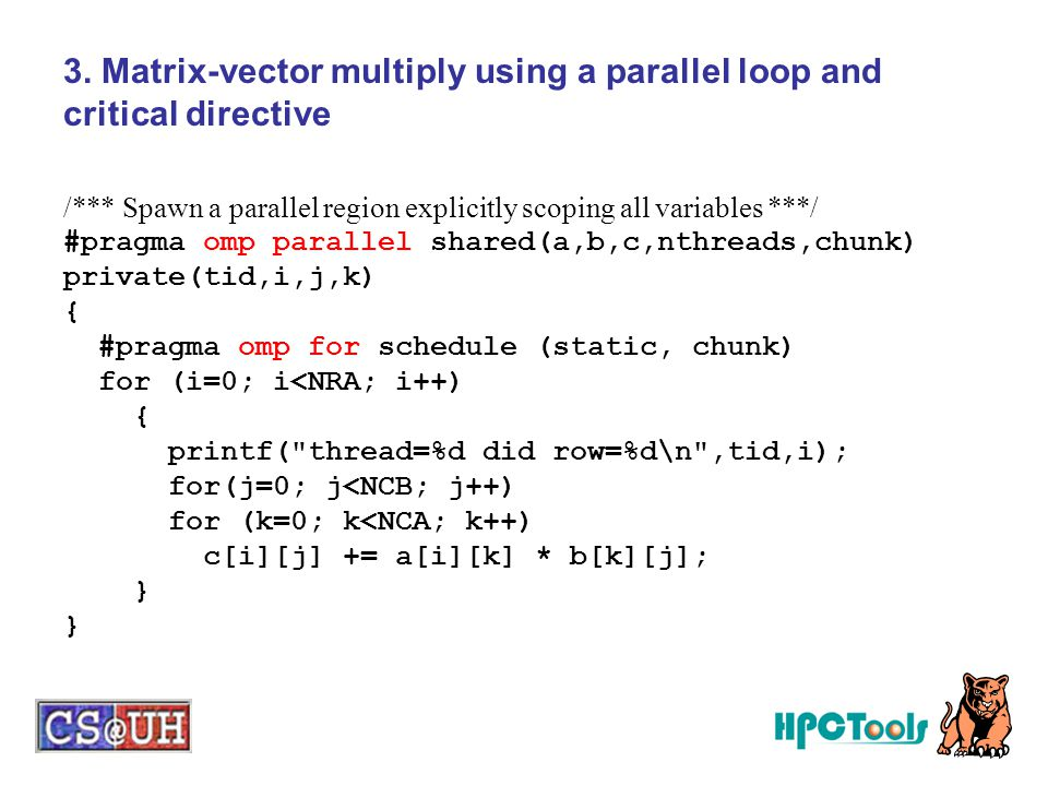 3. Matrix-vector multiply using a parallel loop and critical directive
