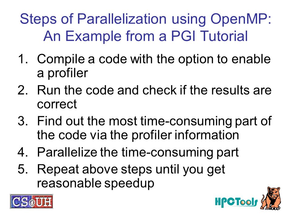 Steps of Parallelization using OpenMP: An Example from a PGI Tutorial