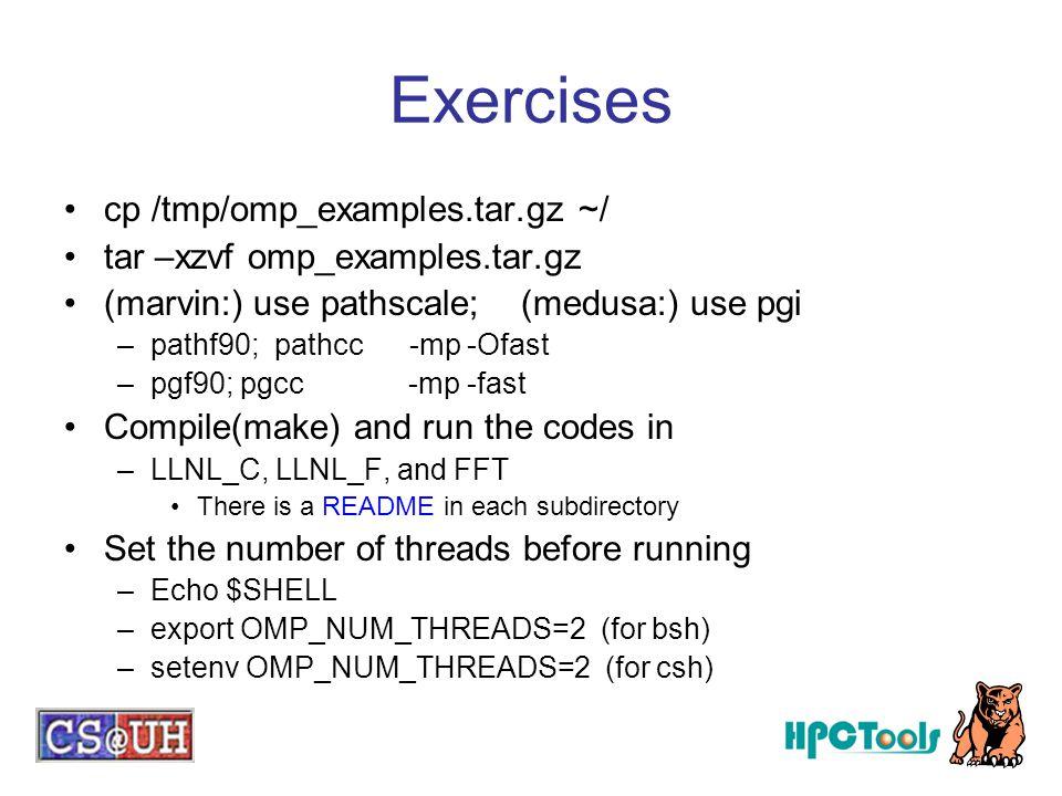 Exercises cp /tmp/omp_examples.tar.gz ~/ tar –xzvf omp_examples.tar.gz