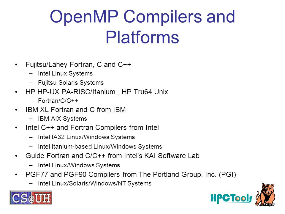 OpenMP Compilers and Platforms