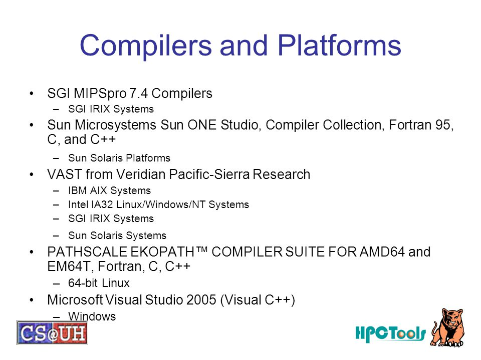 Compilers and Platforms