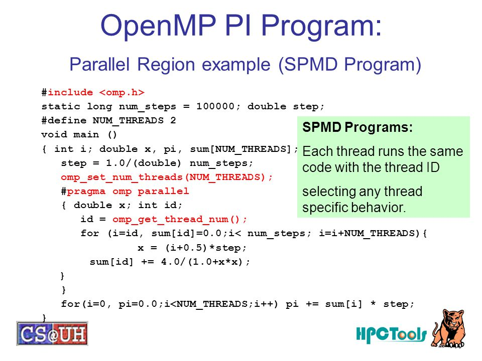 OpenMP PI Program: Parallel Region example (SPMD Program)