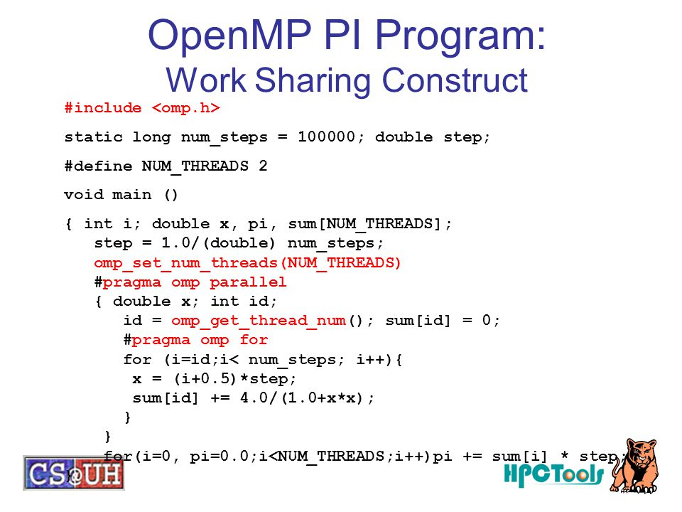 OpenMP PI Program: Work Sharing Construct