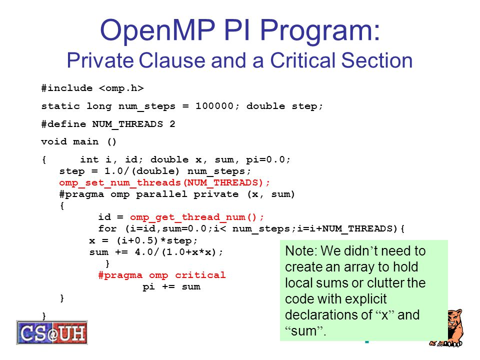 OpenMP PI Program: Private Clause and a Critical Section