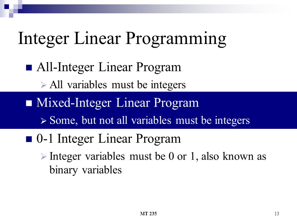 Integer Linear Programming