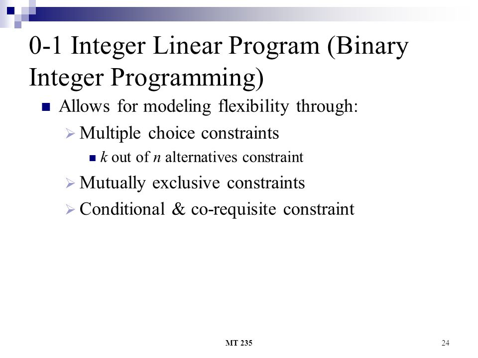 0-1 Integer Linear Program (Binary Integer Programming)