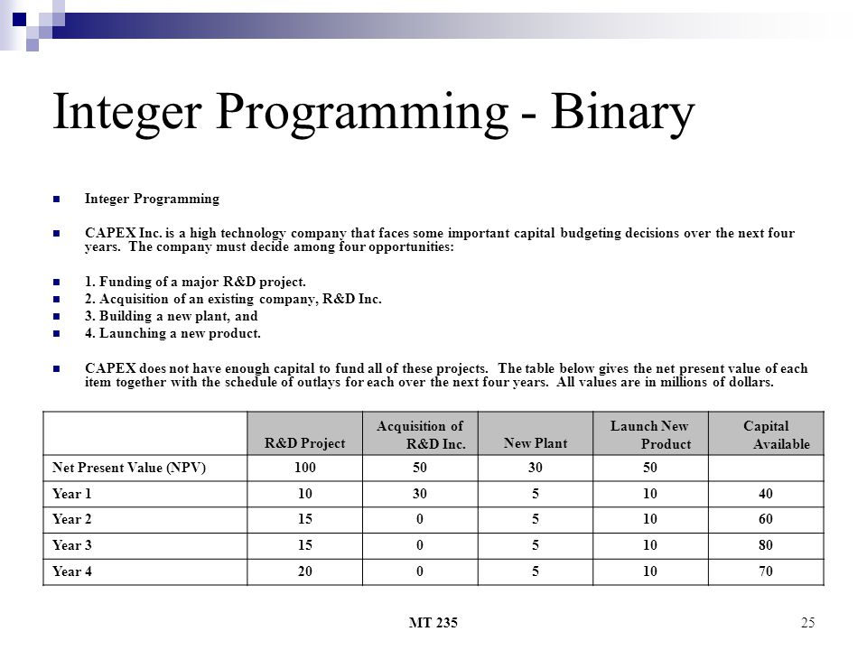 Integer Programming - Binary