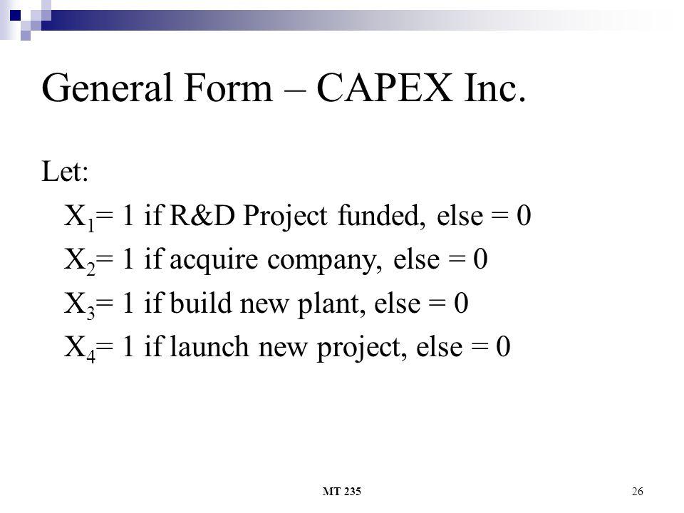 General Form – CAPEX Inc.