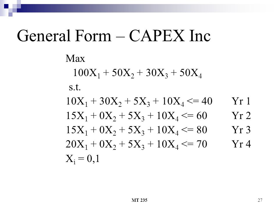 General Form – CAPEX Inc
