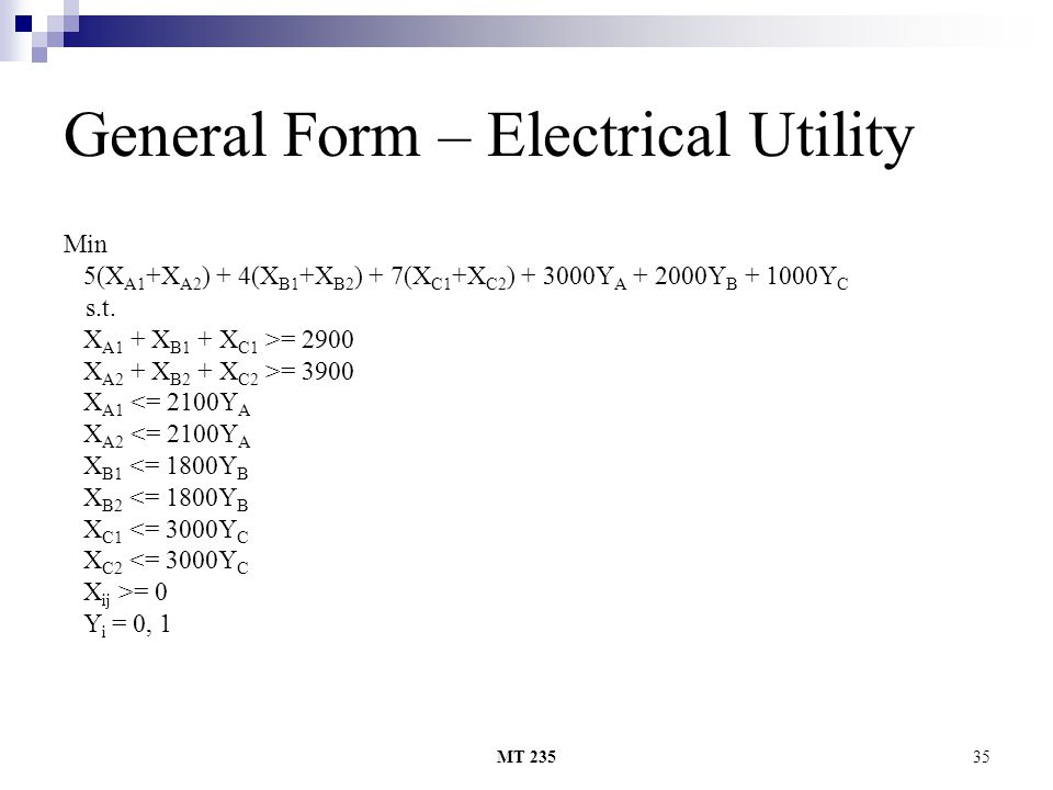 General Form – Electrical Utility