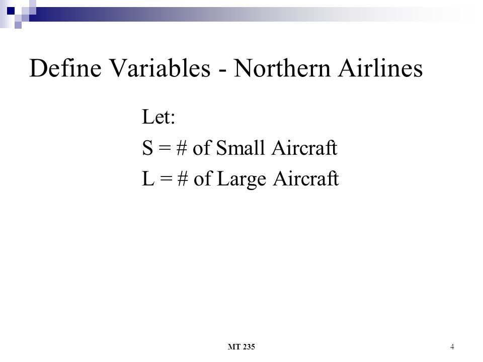 Define Variables - Northern Airlines