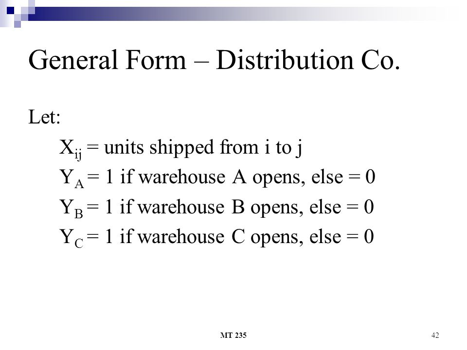General Form – Distribution Co.