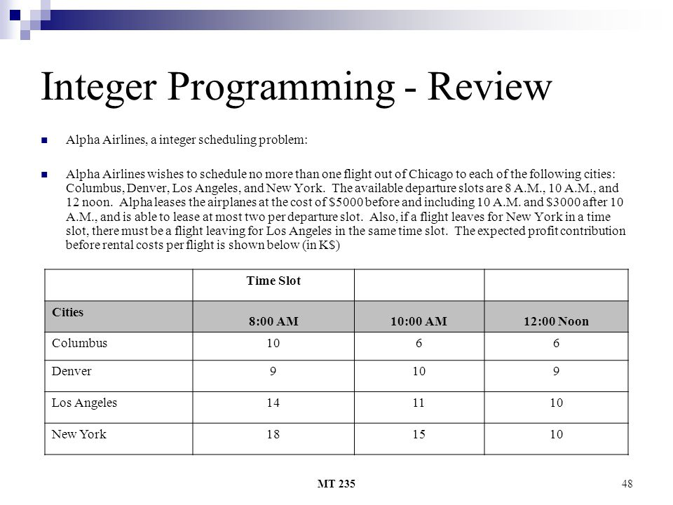 Integer Programming - Review