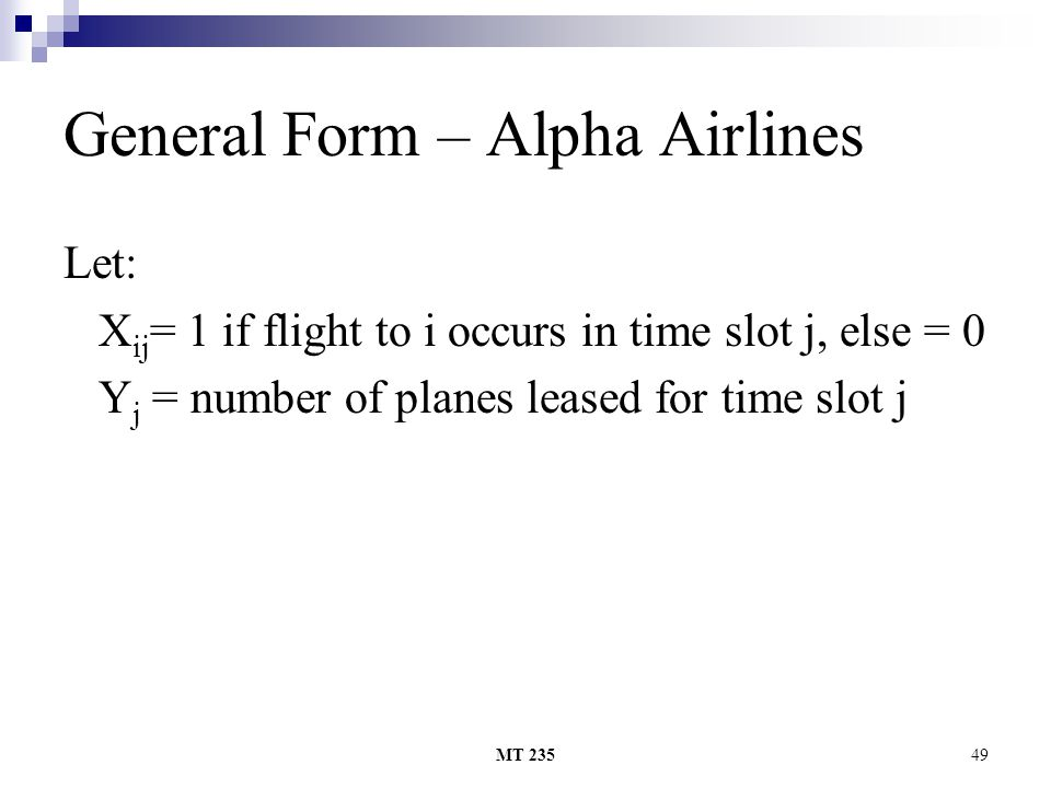 General Form – Alpha Airlines