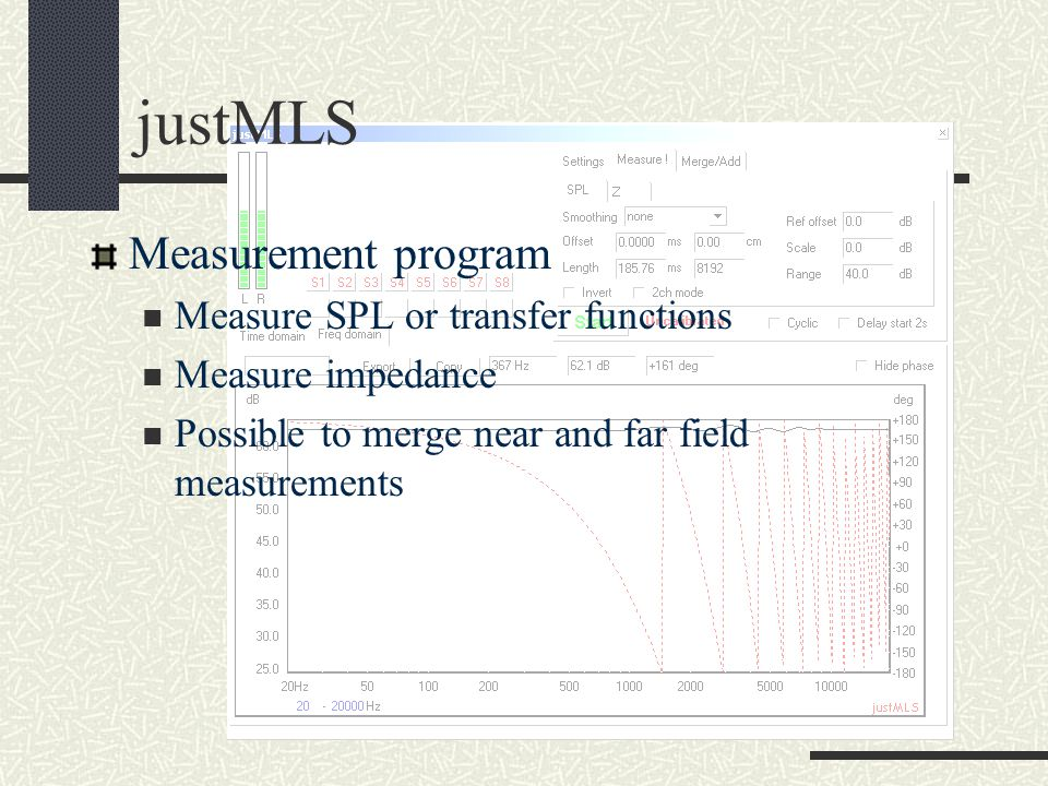 justMLS Measurement program Measure SPL or transfer functions