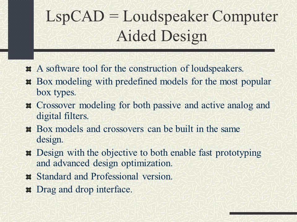 LspCAD = Loudspeaker Computer Aided Design