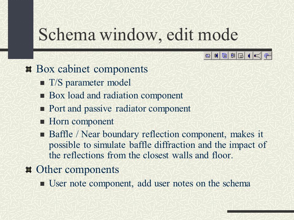 Schema window, edit mode