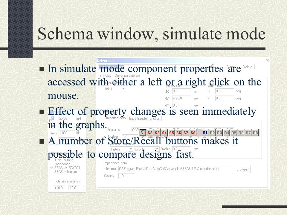 Schema window, simulate mode