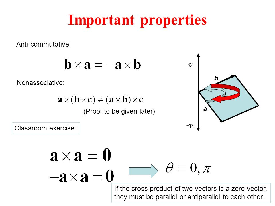 Important properties v -v Anti-commutative: b Nonassociative: a