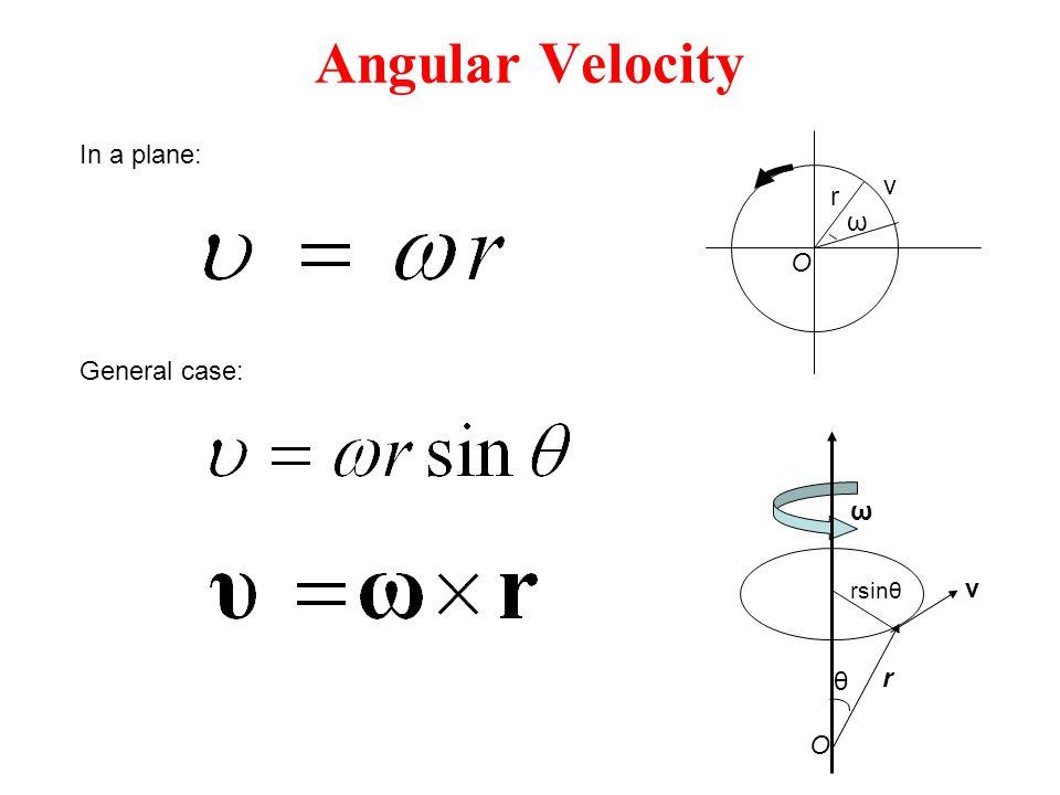 Angular Velocity In a plane: v ω r O General case: θ rsinθ O r v ω