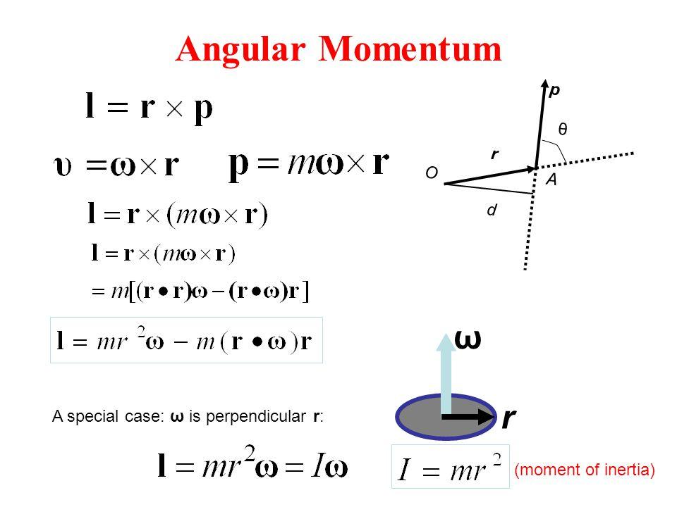 Angular Momentum ω r p θ r O A d A special case: ω is perpendicular r: