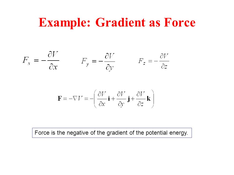 Example: Gradient as Force